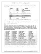 expressions with tener explanation 6th 8th grade worksheet
