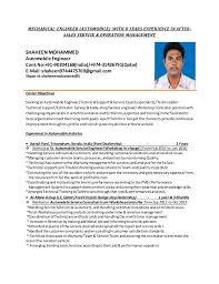 Automobile Service Engineer Resume Sample by Gcc Certified Automobile Engineer With 8 Years Experience In After Sa U2026