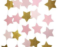 New Year Decoration Paper by Aliexpress Com Buy Pink Gold Glitter Star 12 Ft Paper Garland