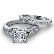 engagement rings and wedding band sets 3 princess cut engagement ring wedding band bridal set