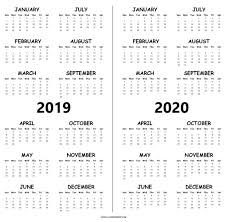blank 2019 and 2020 calendar printable pdf free two year template