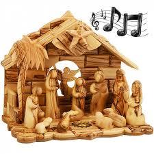 wooden nativity set musical nativity set olive wood 12 faceless holy land
