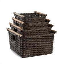 wicker basket with leather handles amazon com the basket lady deep pole handle wicker storage basket