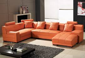 Leather Sectional Sofa Tosh Furniture Leather Sectional Sofa In Orange Flap Stores