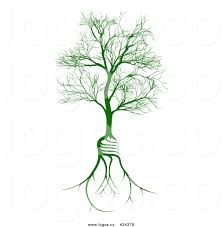 royalty free vector logo of a leafless deciduous tree with light