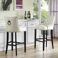 Uptown Cream Leather Barstool Kiln Dried Wood Nail Head And - Dining table sets with matching bar stools