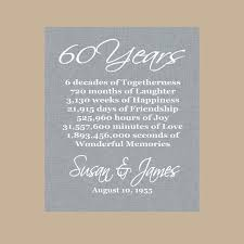 gift for 60 year 60th anniversary gift diamond anniversary personalized 60th
