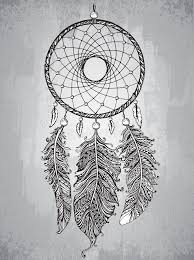 hand drawn dream catcher with feathers in zentangle style stock