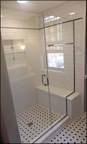 Bathroom Shower With Seat Shower Stall With Seat And Subway Tiles Bathroom Shower Stalls