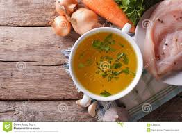 country food chicken soup and ingredients top view stock photo