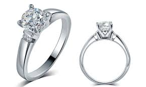 groupon wedding rings 0 50 1 00 cttw engagement rings in 14k white gold groupon