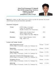 resume template for ojt free download college student resume exles ojt menu and resume