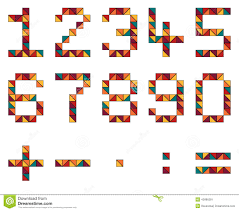 set of numbers and math symbols in geometric style made of color