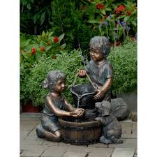 photos hgtv stainless steel water wall feature loversiq outdoor fountains wayfair polyresin and fiberglass two kids dog fountain walmart home decor home