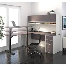 Bestar Desk Bestar Connexion L Desk With Hutch Including Electric Height