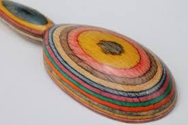 colors handmade wooden spoon wood intarsia layered color block