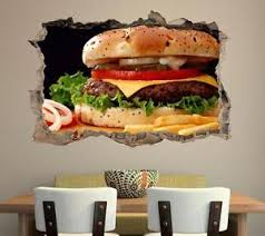 decor mural cuisine burger fries smashed wall sticker decal home decor mural