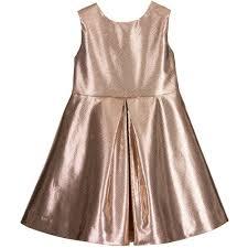 hucklebones london metallic rose gold dress with ivory satin bow