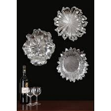 silver flowers metal wall art set of three uttermost wall hover to zoom