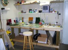stained glass work table design overall view of the stained glass work area rachel work area