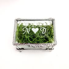 Ring With Initials Personalized Stained Glass Wedding Ring Bearer Box With Initials