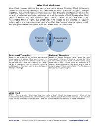 dbt wise mind worksheet recovery worksheets u0026 education