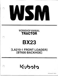 kubota bx23 tractor loader backhoe workshop service manual ebay