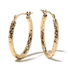 hoop earrings michael anthony jewelry 10k 20mm diamond cut oval hoop earrings