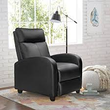 Modern Reclining Leather Sofa Homall Single Recliner Chair Padded Seat Black Pu