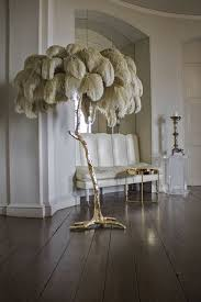 ostrich feather l shade hollywood regency style palm tree floor l hand made in