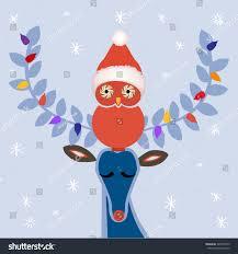 owl christmas winter deer owl christmas hat peppermint stock vector 349572545
