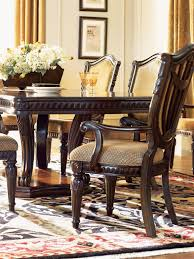 Dining Room Set With Upholstered Chairs by Grand Estates Cinnamon Extendable Double Pedestal Dining Room Set