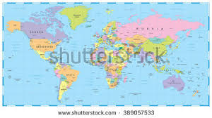 world map by cities colored world map borders countries cities stock vector 389057533