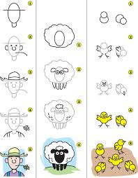 how to draw a farmer sheep and kid scoop