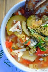 slow cooker summer vegetable pesto soup sugar dish me