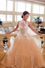 sequined wedding dress sparkly high neck wedding gowns sequined beading appliques bow