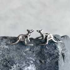 sterling silver earrings for sensitive ears sterling silver kangaroo ear studs silver animal ear studs