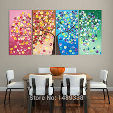 4 panel money tree painting canvas wall art picture home