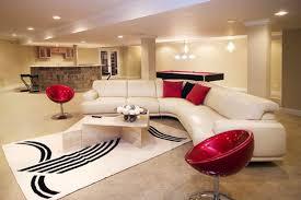 interior basement room idea with sofa and wall flatscreen tv