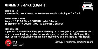 where to get brake light fixed steve price on twitter neworleansdsa is holding several free