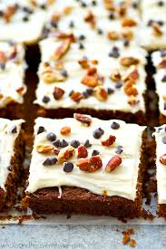 gingerbread chocolate chip cake bars with cream cheese frosting