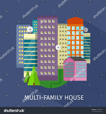 multifamily house design flat apartment architecture stock vector