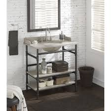 Open Bathroom Vanity by 36 Inch Industrial Open Shelf Vanity With Backsplash 18184006