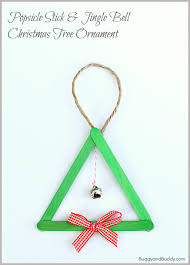 popsicle stick and jingle bell tree ornament buggy and