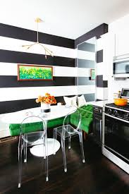 contemporary kitchen with black and white accent wall noz nozawa