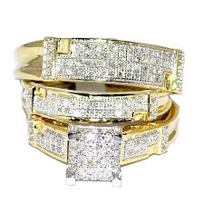 trio wedding sets yellow gold trio wedding set mens women rings real 1