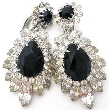 rhinestone earrings drippy black clear rhinestone earrings vintage the jewelry