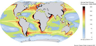 map world oceans world map of productivity