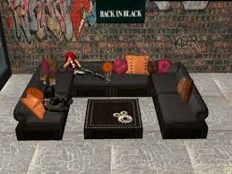 Leather Sofa Cushions Second Marketplace Seating Area Biker Chic Black