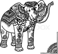 statue of an elephant with ornament black and white g stock